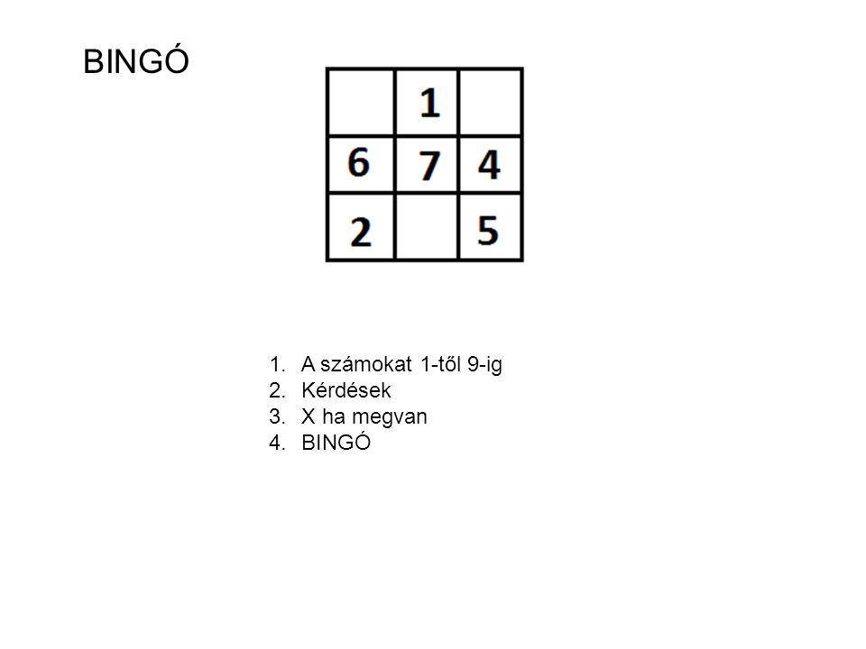BINGÓ 1.A számokat 1-től 9-ig 2.Kérdések 3.X ha megvan 4.BINGÓ
