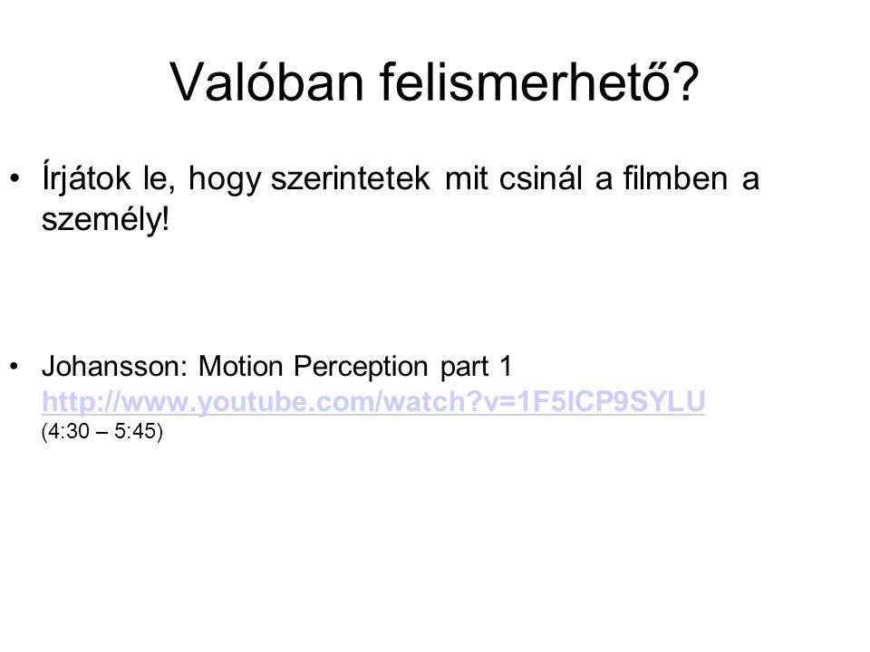 Alapvető információ direkt és gyors elérése Az aktivitás típusa (Johansson, 1973) - lábmozgás akár 5 pontból - egész test minimum 8 pont Nagyon kevés idő elég a felismeréshez (kevesebb mint 100 ms) (Johansson, 1973) - automatikus - még akkor is ha nem egyértelmű