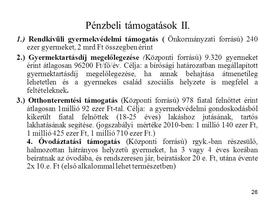 26 Pénzbeli támogatások II.
