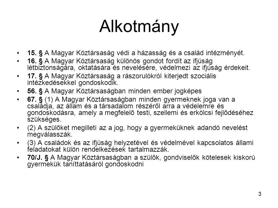 3 Alkotmány 15.§ A Magyar Köztársaság védi a házasság és a család intézményét.