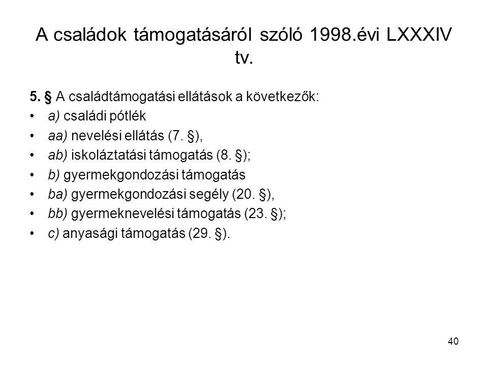 40 A családok támogatásáról szóló 1998.évi LXXXIV tv.