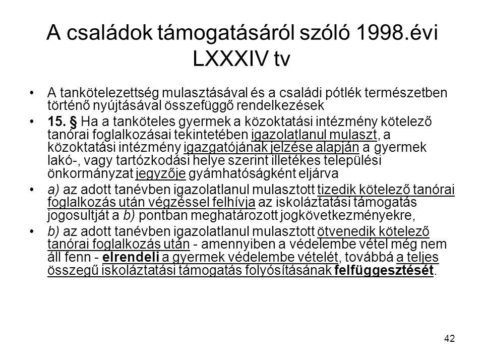 42 A családok támogatásáról szóló 1998.évi LXXXIV tv A tankötelezettség mulasztásával és a családi pótlék természetben történő nyújtásával összefüggő rendelkezések 15.