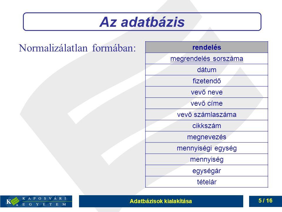 Adatbázisok kialakítása 6 / 16 Hierarchikus függések megszüntetése 1.