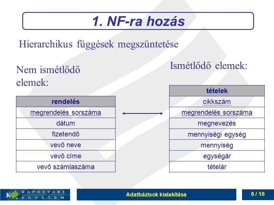 Adatbázisok kialakítása 6 / 16 Hierarchikus függések megszüntetése 1. NF-ra hozás Nem ismétlődő elemek: Ismétlődő elemek: rendelés megrendelés sorszám