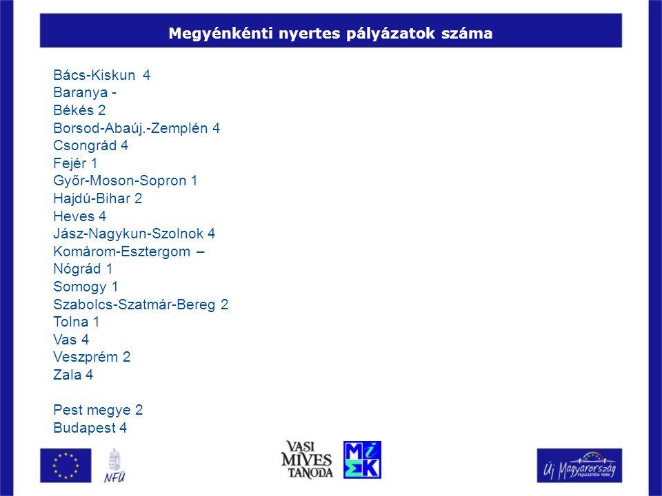 Megyénkénti nyertes pályázatok száma Bács-Kiskun 4 Baranya - Békés 2 Borsod-Abaúj.-Zemplén 4 Csongrád 4 Fejér 1 Győr-Moson-Sopron 1 Hajdú-Bihar 2 Heves 4 Jász-Nagykun-Szolnok 4 Komárom-Esztergom – Nógrád 1 Somogy 1 Szabolcs-Szatmár-Bereg 2 Tolna 1 Vas 4 Veszprém 2 Zala 4 Pest megye 2 Budapest 4