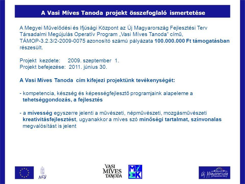 A Vasi Míves Tanoda projekt összefoglaló ismertetése A Megyei Művelődési és Ifjúsági Központ az Új Magyarország Fejlesztési Terv Társadalmi Megújulás