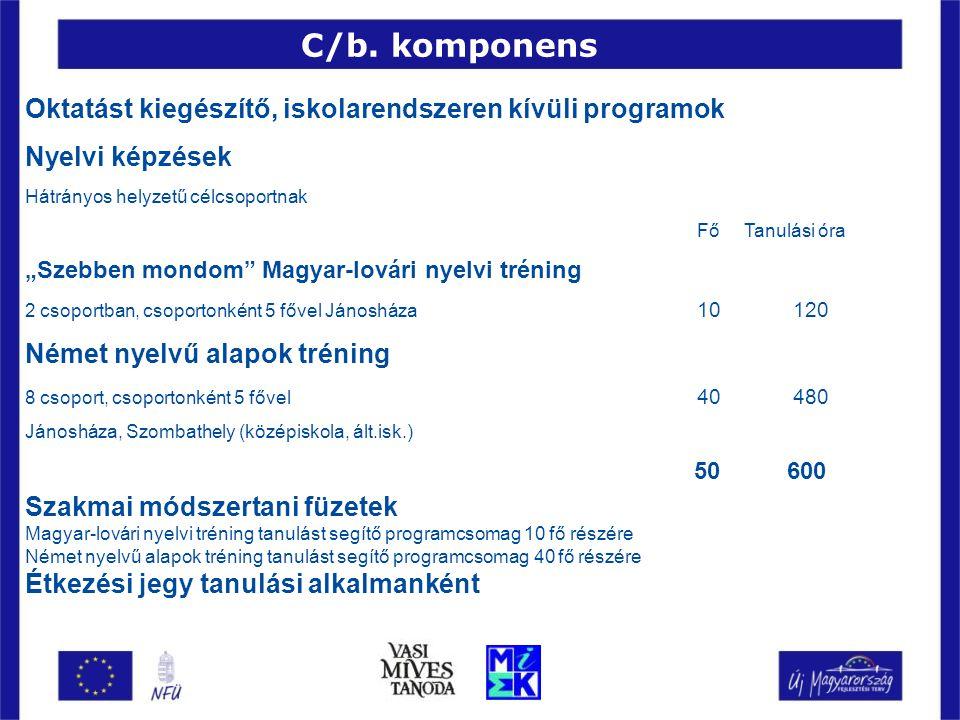 """Oktatást kiegészítő, iskolarendszeren kívüli programok Nyelvi képzések Hátrányos helyzetű célcsoportnak Fő Tanulási óra """"Szebben mondom"""" Magyar-lovári"""