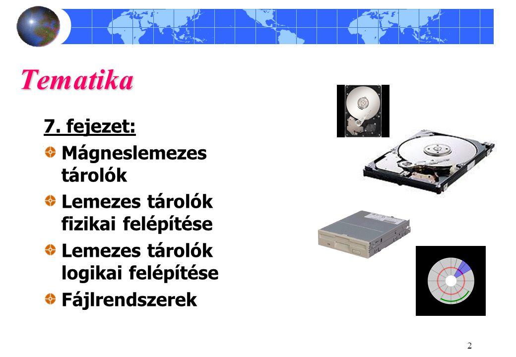 2 Tematika 7. fejezet: Mágneslemezes tárolók Lemezes tárolók fizikai felépítése Lemezes tárolók logikai felépítése Fájlrendszerek