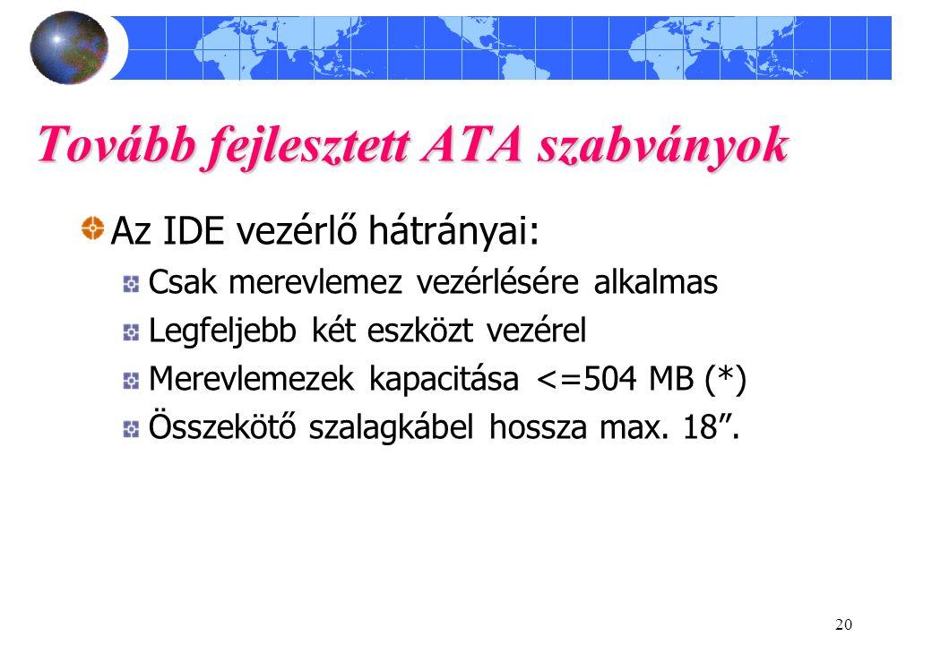 20 Tovább fejlesztett ATA szabványok Az IDE vezérlő hátrányai: Csak merevlemez vezérlésére alkalmas Legfeljebb két eszközt vezérel Merevlemezek kapacitása <=504 MB (*) Összekötő szalagkábel hossza max.