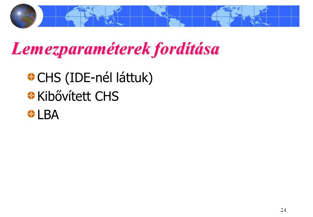 24 Lemezparaméterek fordítása CHS (IDE-nél láttuk) Kibővített CHS LBA