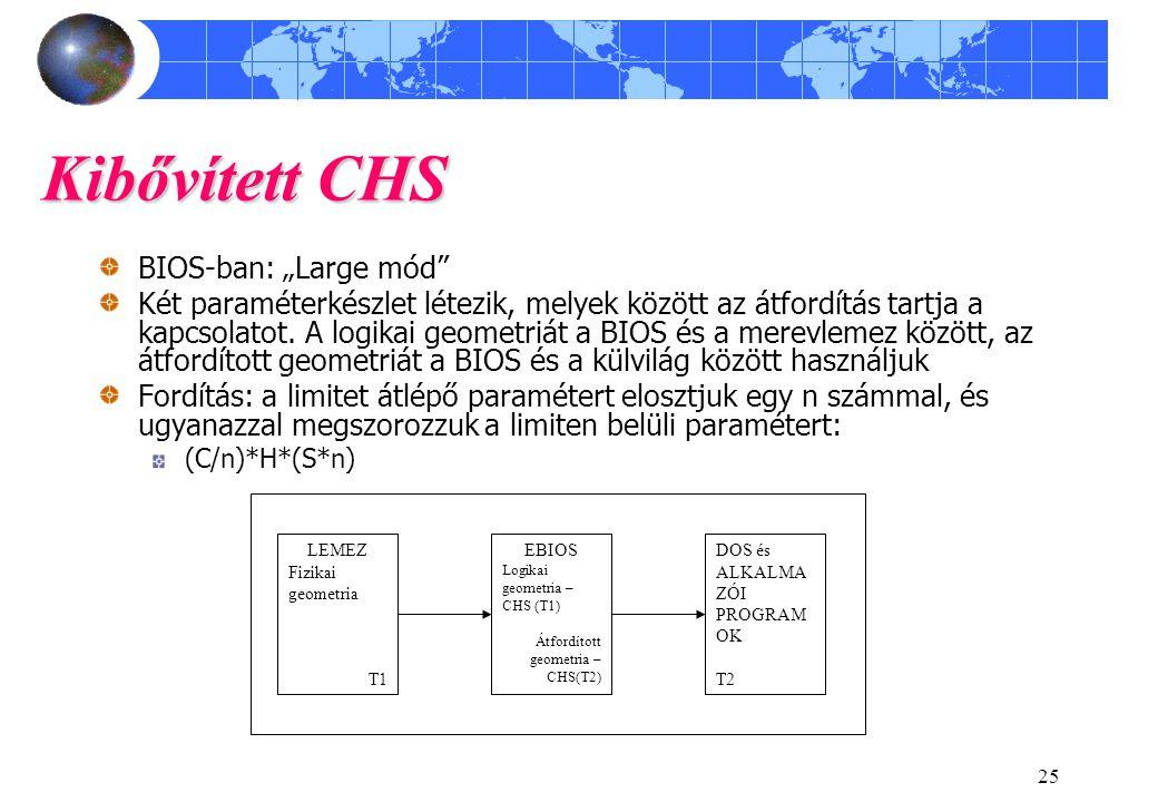 """25 Kibővített CHS BIOS-ban: """"Large mód"""" Két paraméterkészlet létezik, melyek között az átfordítás tartja a kapcsolatot. A logikai geometriát a BIOS és"""
