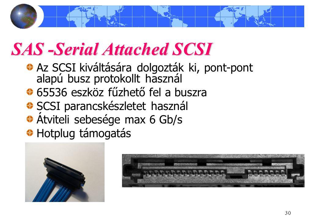 30 SAS -Serial Attached SCSI Az SCSI kiváltására dolgozták ki, pont-pont alapú busz protokollt használ 65536 eszköz fűzhető fel a buszra SCSI parancsk