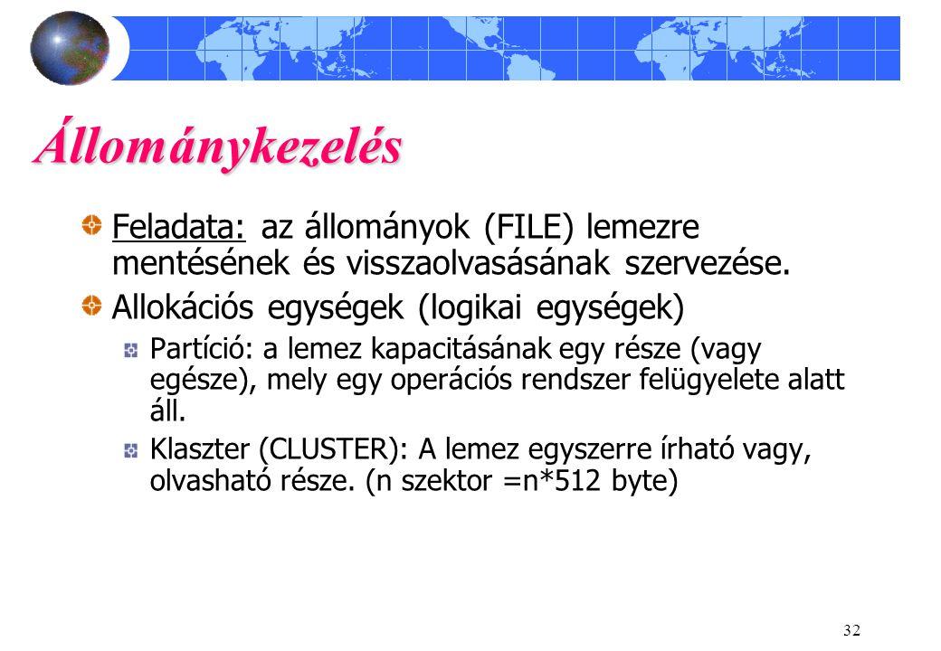 32 Állománykezelés Feladata: az állományok (FILE) lemezre mentésének és visszaolvasásának szervezése.
