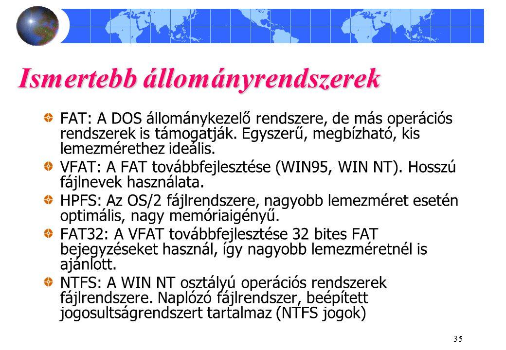 35 Ismertebb állományrendszerek FAT: A DOS állománykezelő rendszere, de más operációs rendszerek is támogatják. Egyszerű, megbízható, kis lemezmérethe