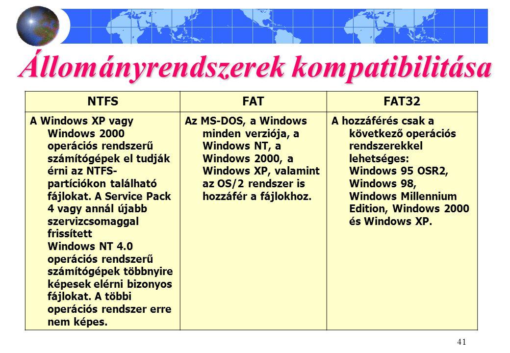 41 Állományrendszerek kompatibilitása NTFSFATFAT32 A Windows XP vagy Windows 2000 operációs rendszerű számítógépek el tudják érni az NTFS- partíciókon található fájlokat.
