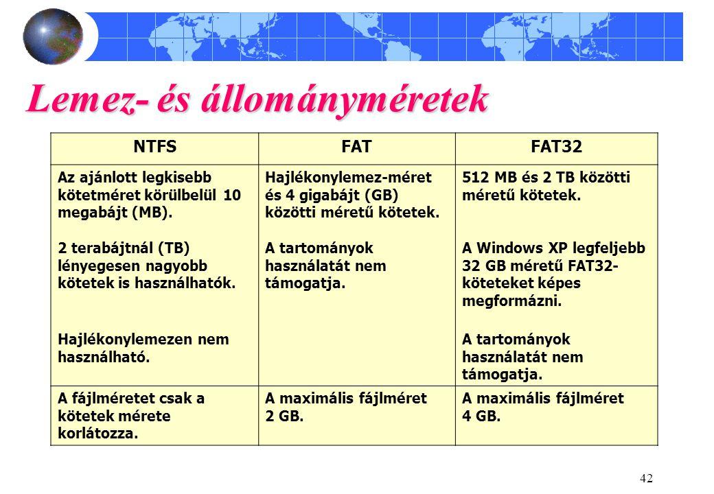 42 Lemez- és állományméretek NTFSFATFAT32 Az ajánlott legkisebb kötetméret körülbelül 10 megabájt (MB). Hajlékonylemez-méret és 4 gigabájt (GB) között