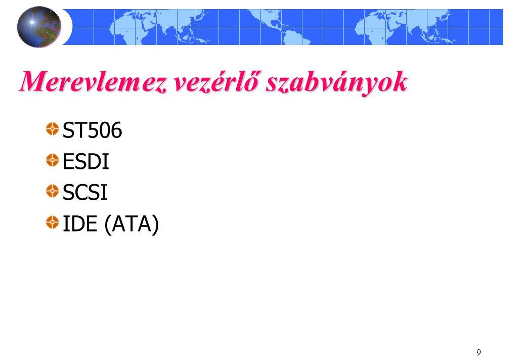 9 Merevlemez vezérlő szabványok ST506 ESDI SCSI IDE (ATA)