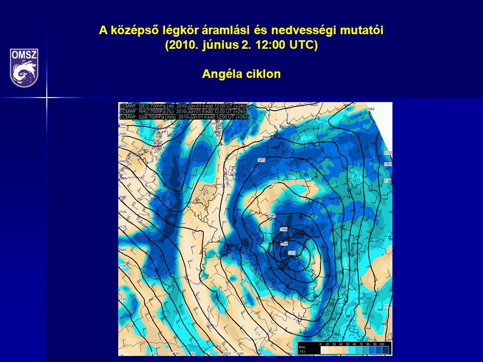 A középső légkör áramlási és nedvességi mutatói (2010. június 2. 12:00 UTC) Angéla ciklon