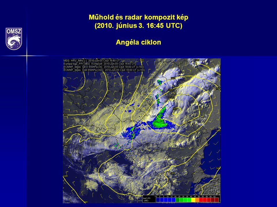 Műhold és radar kompozit kép (2010. június 3. 16:45 UTC) Angéla ciklon