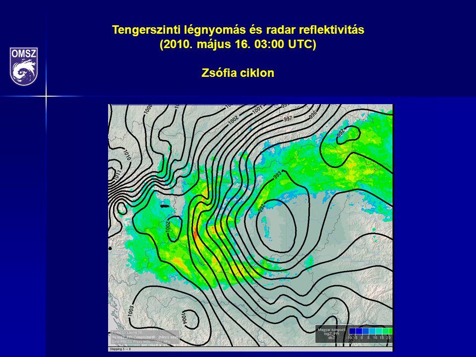 Tengerszinti légnyomás és radar reflektivitás (2010. május 16. 03:00 UTC) Zsófia ciklon