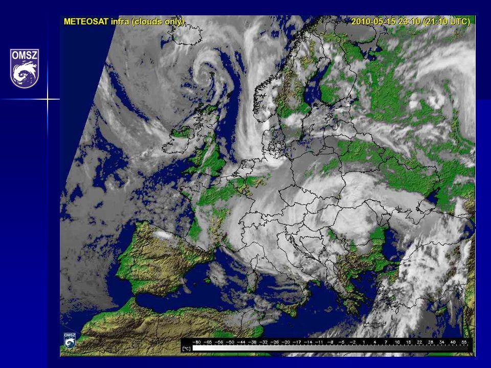 Csapadék előrejelzés, WRF modell, (2010. május 16. 06:00 UTC) Zsófia ciklon
