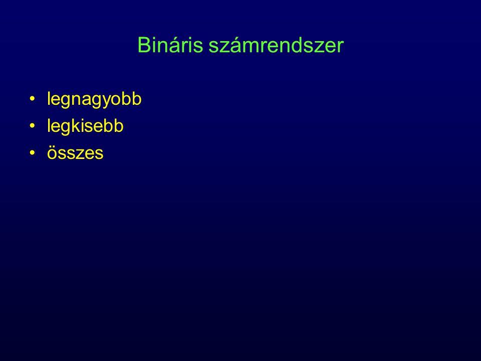 Bináris számrendszer legnagyobb legkisebb összes