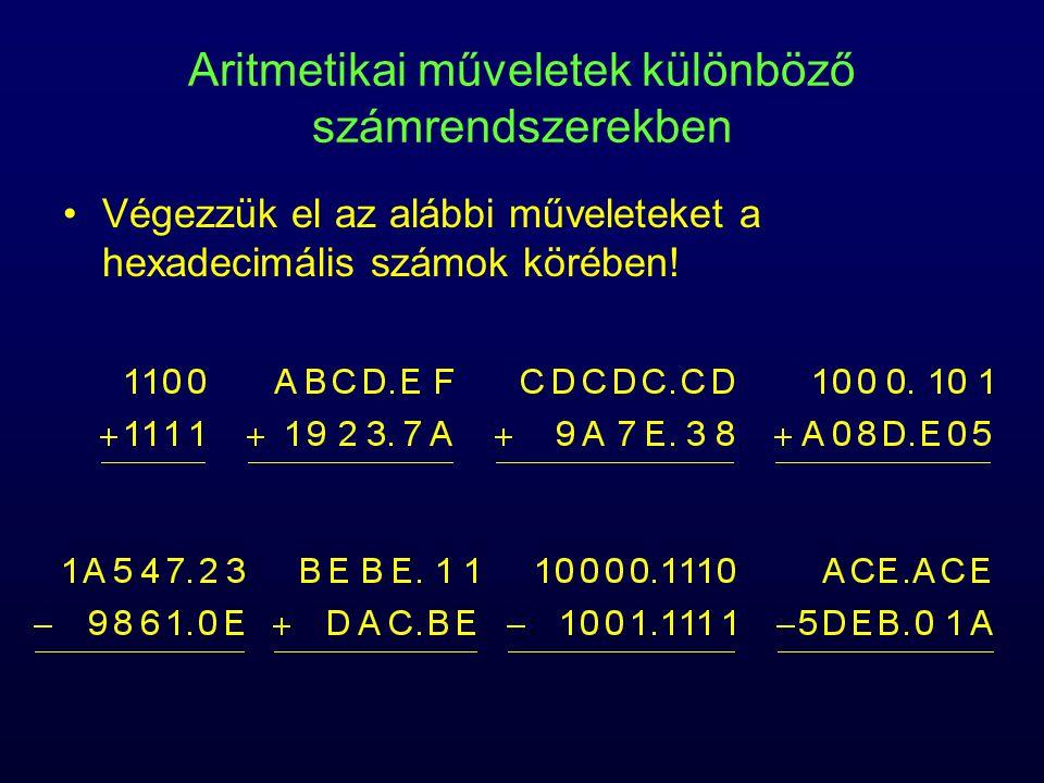 Aritmetikai műveletek különböző számrendszerekben Végezzük el az alábbi műveleteket a hexadecimális számok körében!