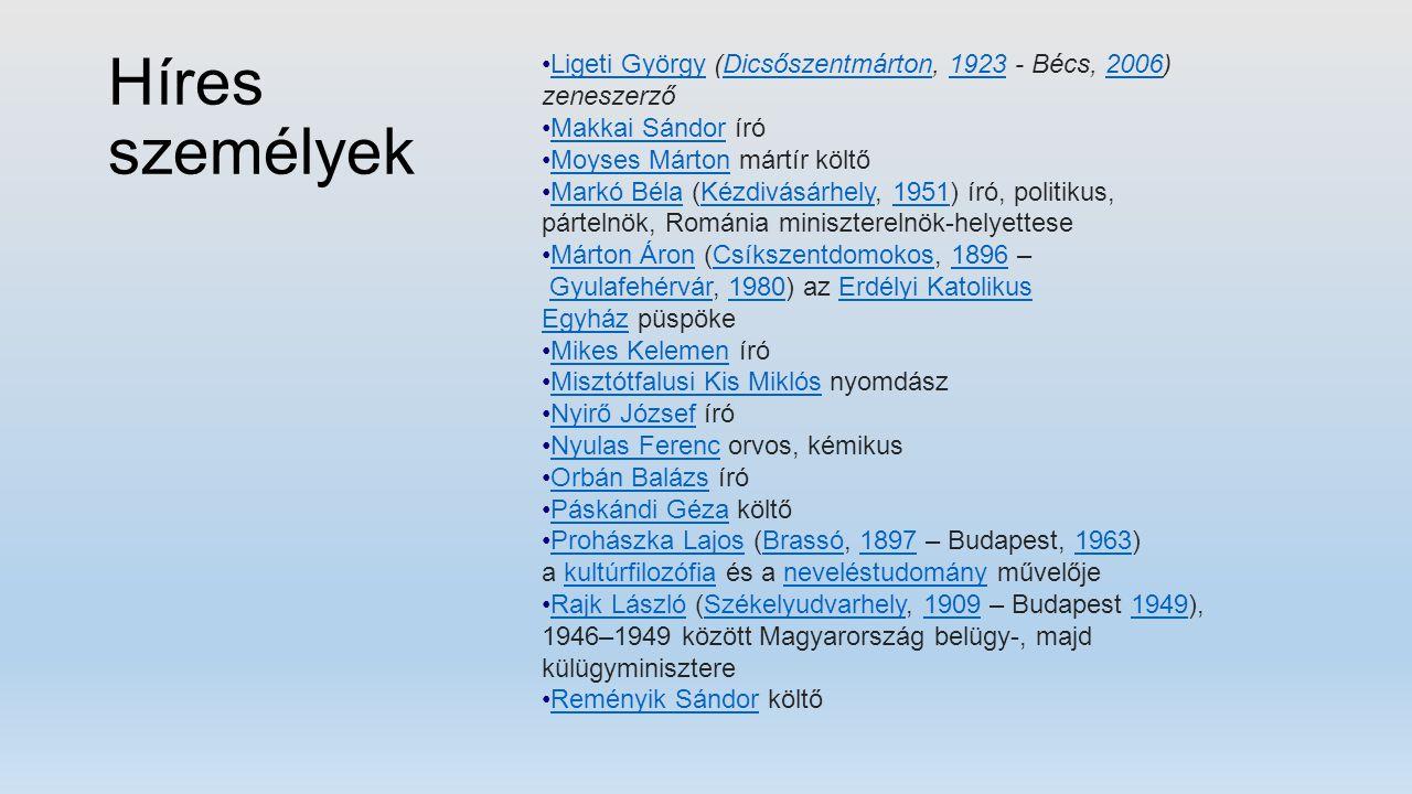 Híres személyek Ligeti György (Dicsőszentmárton, 1923 - Bécs, 2006) zeneszerzőLigeti GyörgyDicsőszentmárton19232006 Makkai Sándor íróMakkai Sándor Moy