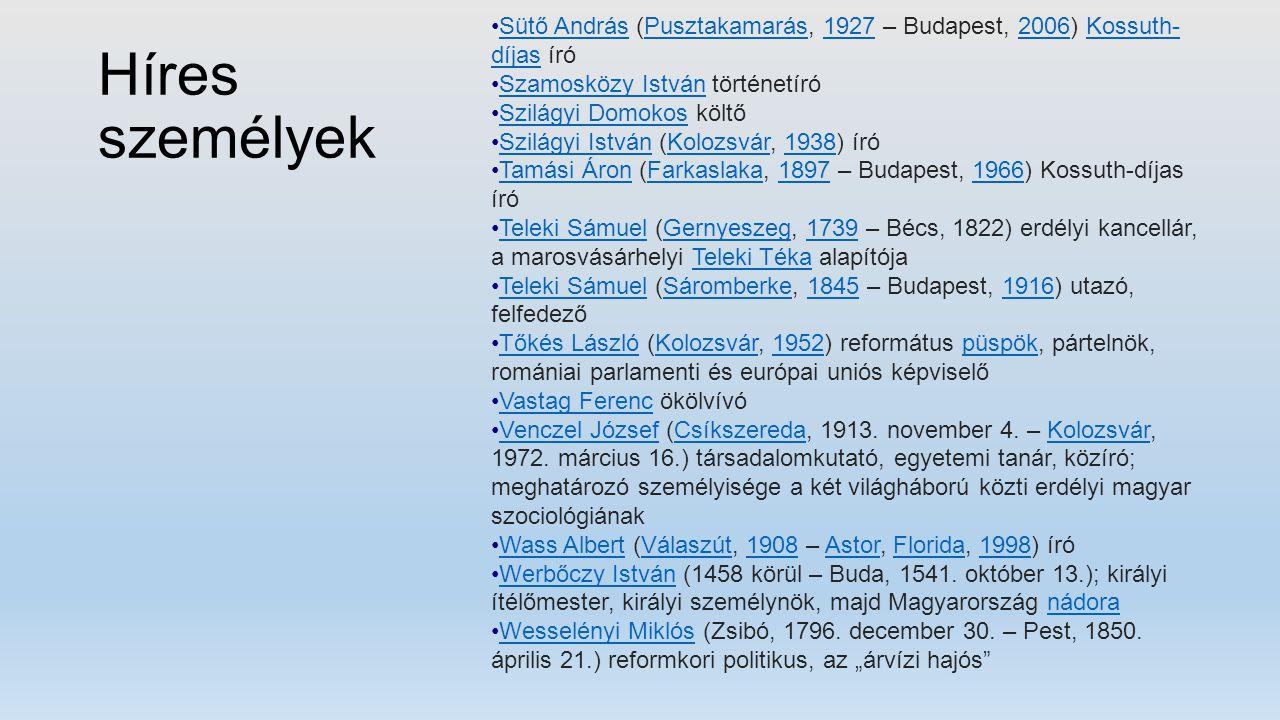 Híres személyek Sütő András (Pusztakamarás, 1927 – Budapest, 2006) Kossuth- díjas íróSütő AndrásPusztakamarás19272006Kossuth- díjas Szamosközy István
