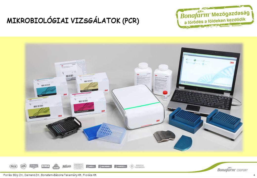 Forrás: Bóly Zrt., Dalmand Zrt., Bonafarm-Bábolna Takarmány Kft., Fiorács Kft.4 MIKROBIOLÓGIAI VIZSGÁLATOK (PCR)