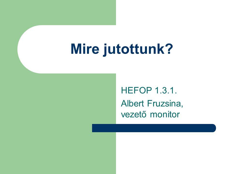 Mire jutottunk HEFOP 1.3.1. Albert Fruzsina, vezető monitor