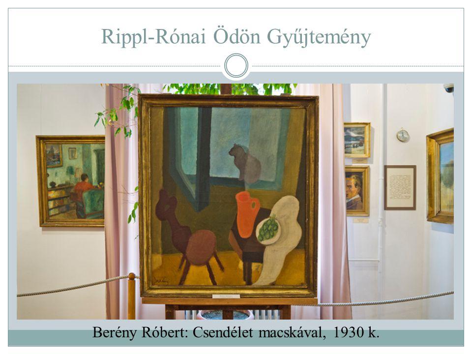 Rippl-Rónai Ödön Gyűjtemény Berény Róbert: Csendélet macskával, 1930 k.