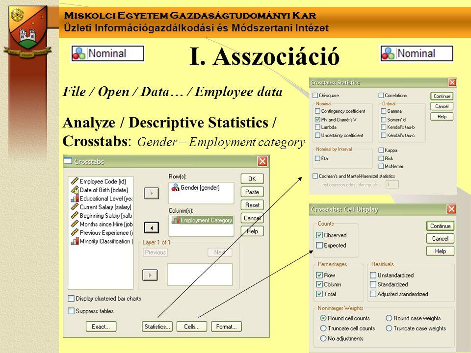 Miskolci Egyetem Gazdaságtudományi Kar Üzleti Információgazdálkodási és Módszertani Intézet I. Asszociáció Analyze / Descriptive Statistics / Crosstab