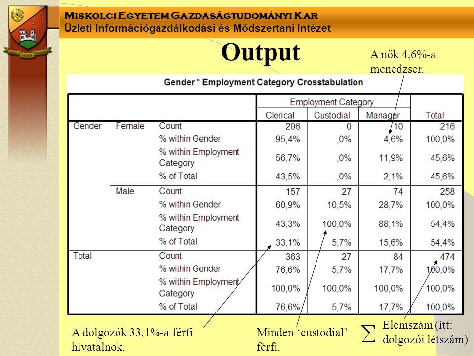 Miskolci Egyetem Gazdaságtudományi Kar Üzleti Információgazdálkodási és Módszertani Intézet vagy Ahol: H = H 2 = 0- függetlenség (nincs kapcsolat) H = H 2 = 1- függvényszerű kapcsolat 0  H  1- sztochasztikus kapcsolat 0  H  0,3  gyenge kapcsolat 0,3  H  0,7  közepesen erős kapcsolat 0,7  H  1  erős kapcsolat 0  H 2  1 Megmutatja, hogy a csoportosító (minőségi/területi) ismérv milyen hányadban, hány százalékban magyarázza a vizsgált mennyiségi ismérv szóródását.