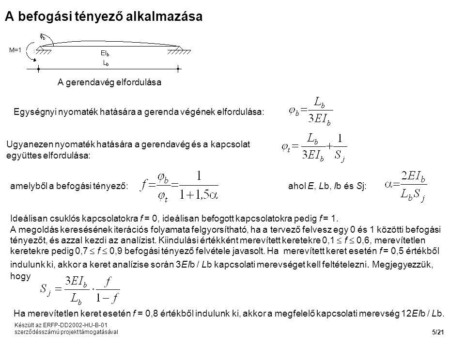 A befogási tényező alkalmazása A gerendavég elfordulása Egységnyi nyomaték hatására a gerenda végének elfordulása: Ugyanezen nyomaték hatására a gerendavég és a kapcsolat együttes elfordulása: amelyből a befogási tényező:ahol E, Lb, Ib és Sj: Ideálisan csuklós kapcsolatokra f = 0, ideálisan befogott kapcsolatokra pedig f = 1.