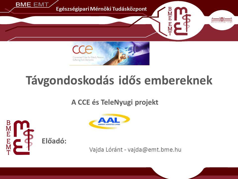 Távgondoskodás idős embereknek Előadó: Vajda Lóránt - vajda@emt.bme.hu A CCE és TeleNyugi projekt Egészségipari Mérnöki Tudásközpont