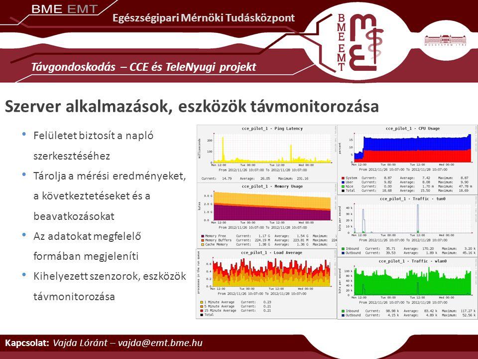 Felületet biztosít a napló szerkesztéséhez Tárolja a mérési eredményeket, a következtetéseket és a beavatkozásokat Az adatokat megfelelő formában megj