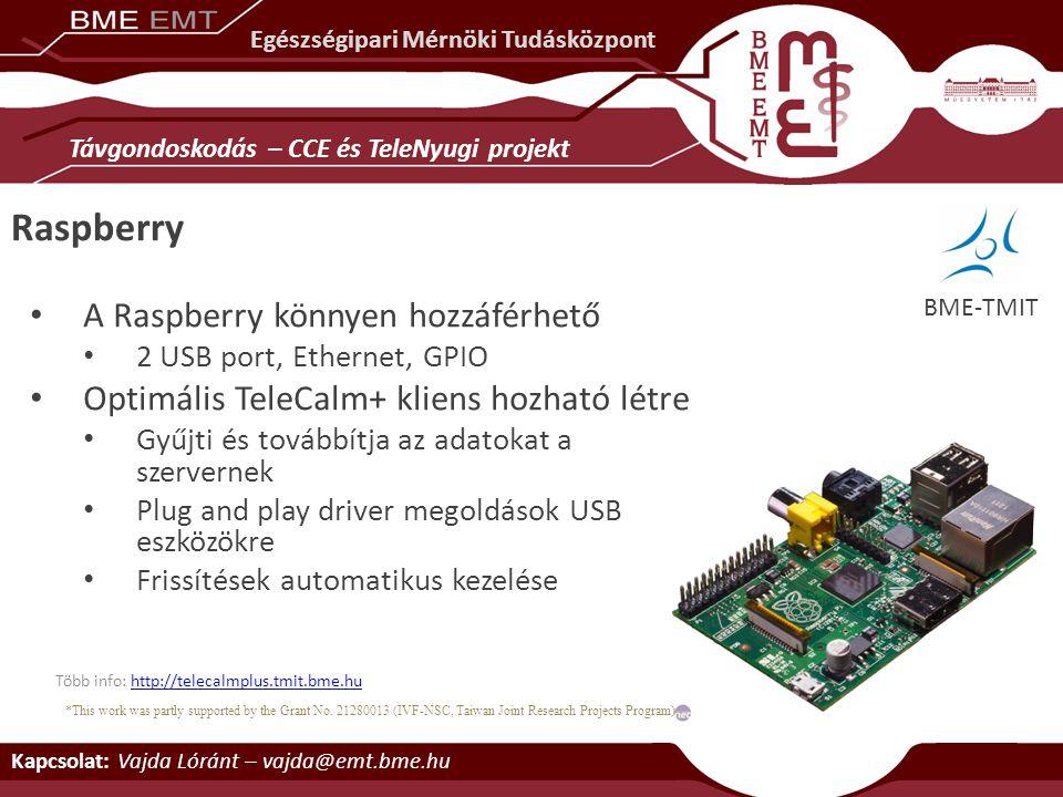 Raspberry A Raspberry könnyen hozzáférhető 2 USB port, Ethernet, GPIO Optimális TeleCalm+ kliens hozható létre Gyűjti és továbbítja az adatokat a szer