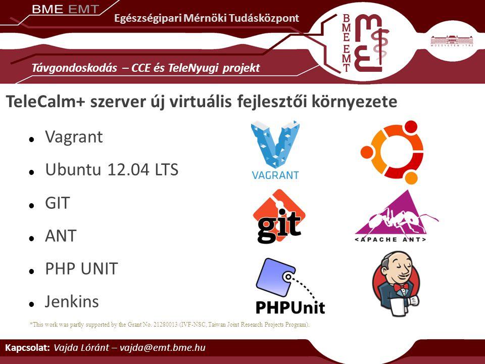 TeleCalm+ szerver új virtuális fejlesztői környezete Vagrant Ubuntu 12.04 LTS GIT ANT PHP UNIT Jenkins Kapcsolat: Vajda Lóránt – vajda@emt.bme.hu Egés