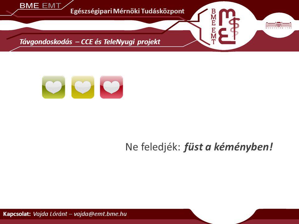 Kapcsolat: Vajda Lóránt – vajda@emt.bme.hu Egészségipari Mérnöki Tudásközpont Távgondoskodás – CCE és TeleNyugi projekt Ne feledjék: füst a kéményben!