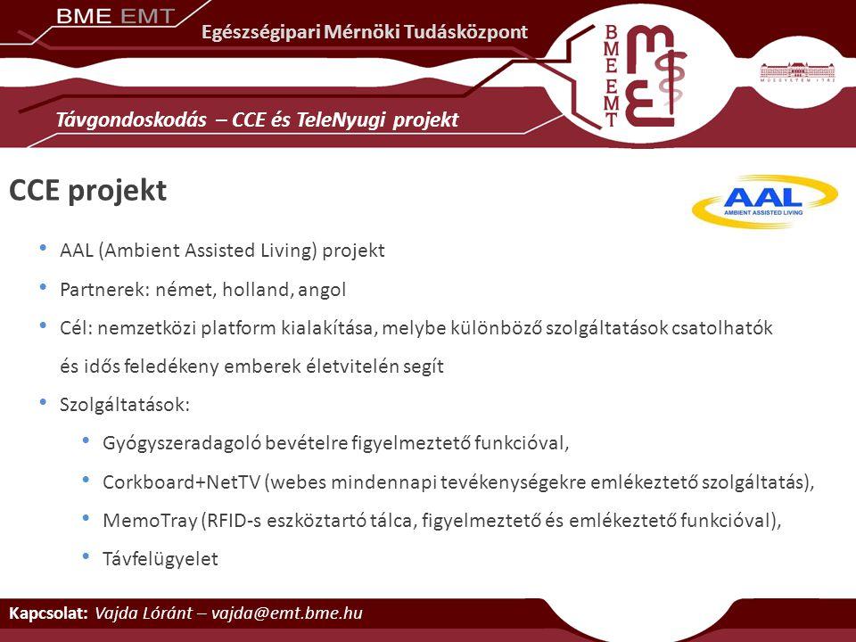 Kapcsolat: Vajda Lóránt – vajda@emt.bme.hu AAL (Ambient Assisted Living) projekt Partnerek: német, holland, angol Cél: nemzetközi platform kialakítása