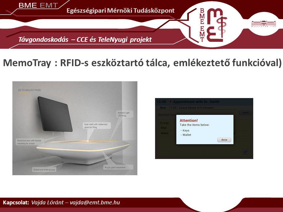 Egészségipari Mérnöki Tudásközpont MemoTray : RFID-s eszköztartó tálca, emlékeztető funkcióval) Távgondoskodás – CCE és TeleNyugi projekt Kapcsolat: V