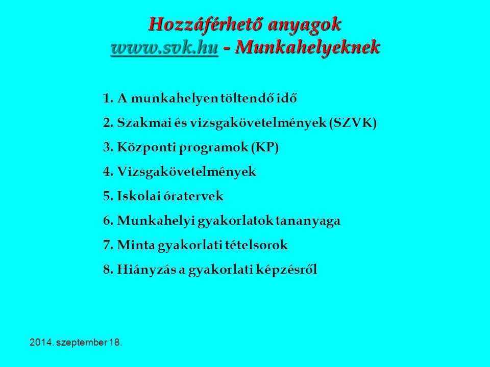 2014. szeptember 18. Hozzáférhető anyagok www.svk.hu - Munkahelyeknek www.svk.hu 1. A munkahelyen töltendő idő 2. Szakmai és vizsgakövetelmények (SZVK
