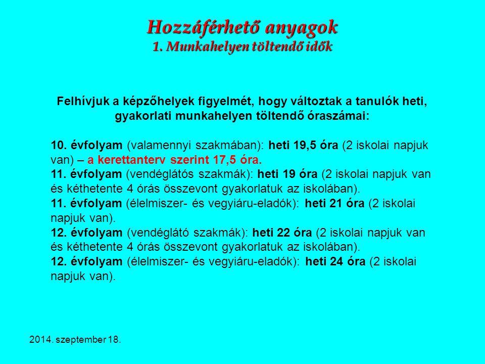 2014. szeptember 18. Hozzáférhető anyagok 1. Munkahelyen töltendő idők Felhívjuk a képzőhelyek figyelmét, hogy változtak a tanulók heti, gyakorlati mu