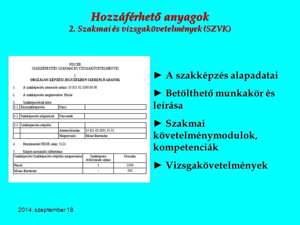 2014. szeptember 18. Hozzáférhető anyagok 2. Szakmai és vizsgakövetelmények (SZVK) ► A szakképzés alapadatai ► Betölthető munkakör és leírása ► Szakma