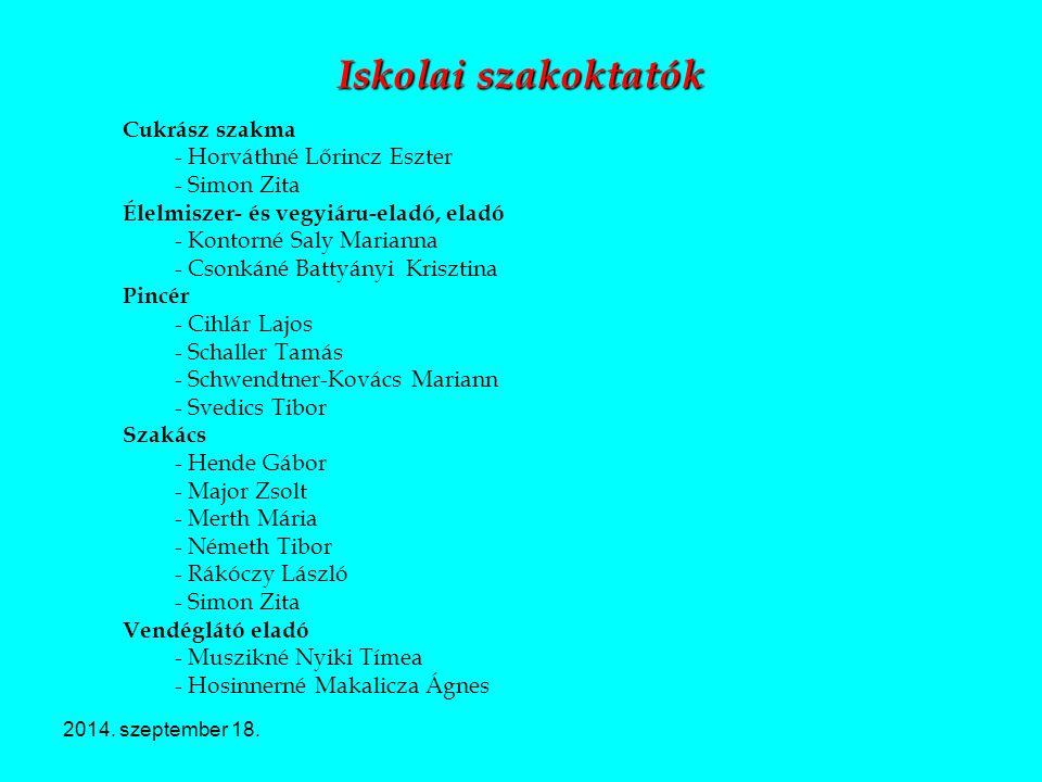 2014. szeptember 18. Iskolai szakoktatók Cukrász szakma - Horváthné Lőrincz Eszter - Simon Zita Élelmiszer- és vegyiáru-eladó, eladó - Kontorné Saly M