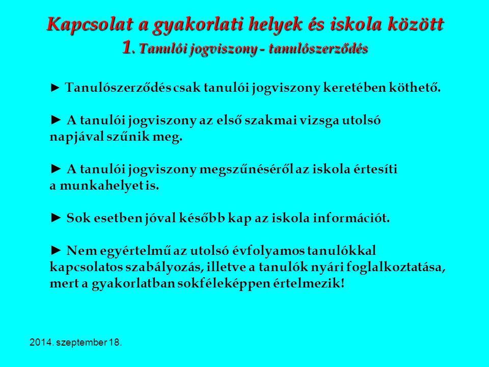2014. szeptember 18. Kapcsolat a gyakorlati helyek és iskola között 1. Tanulói jogviszony - tanulószerződés ► Tanulószerződés csak tanulói jogviszony
