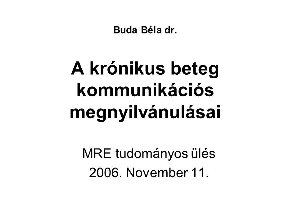 Buda Béla dr.A krónikus beteg kommunikációs megnyilvánulásai MRE tudományos ülés 2006.