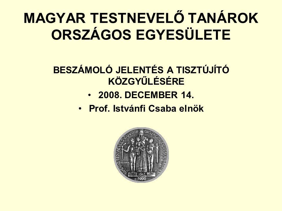 MAGYAR TESTNEVELŐ TANÁROK ORSZÁGOS EGYESÜLETE BESZÁMOLÓ JELENTÉS A TISZTÚJÍTÓ KÖZGYŰLÉSÉRE 2008.