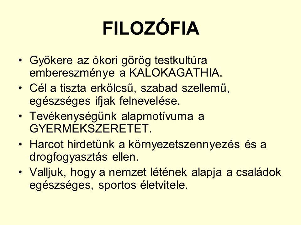 FILOZÓFIA Gyökere az ókori görög testkultúra embereszménye a KALOKAGATHIA.